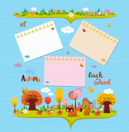 hi back: Hello autumn. Design elements for notebooks. note papers