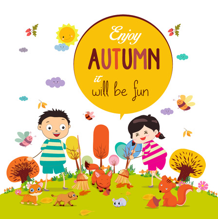 addio: Addio estate. Ciao ragazze e ragazzi sorridendo felice autunno Vettoriali