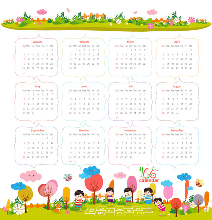 for kids: calendar for 2016 with cartoon and funny animals and kids. Hello autumn