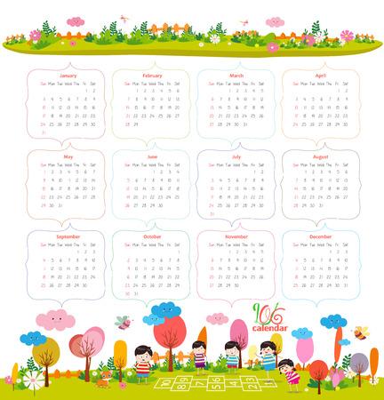 calendrier: calendrier pour 2016 avec la bande dessin�e et de dr�les d'animaux et les enfants. Bonjour l'automne Illustration