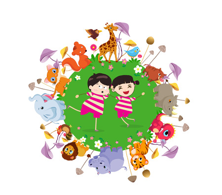 hi back: funny animals and happy kids on the ground round. Bright background in a cute and cartoon style