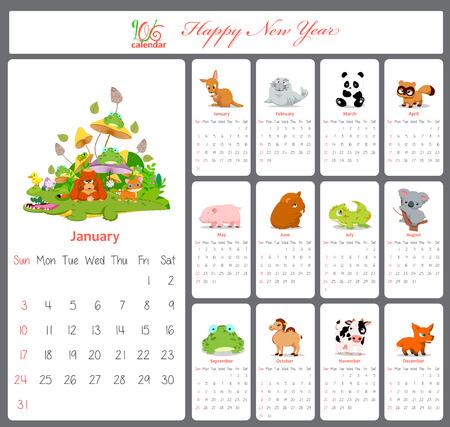 funny animal: Calendario Inusual para 2016 con dibujos animados y divertidos animales