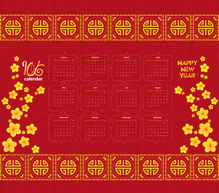 festivity: Chinese new year calendar 2016 Cherry Blossom