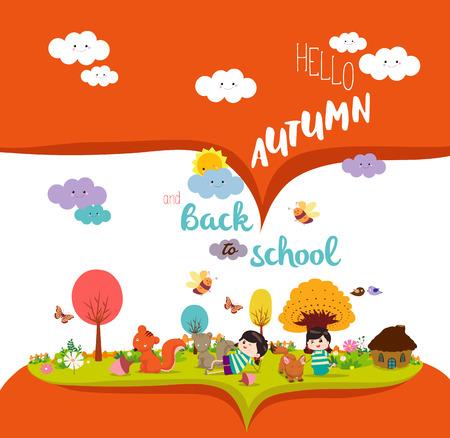 cute girl: happy autumn. Autumn season background with animals Illustration