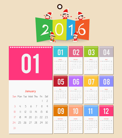chronological: Template design - paper with 2016 Calendar page for months Illustration