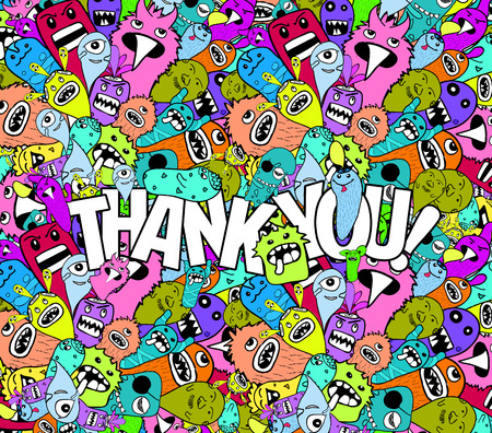 very: thank you doodle hipster colorful background