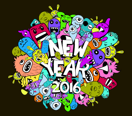 indie: 2016 new year doodle hipster colorful background