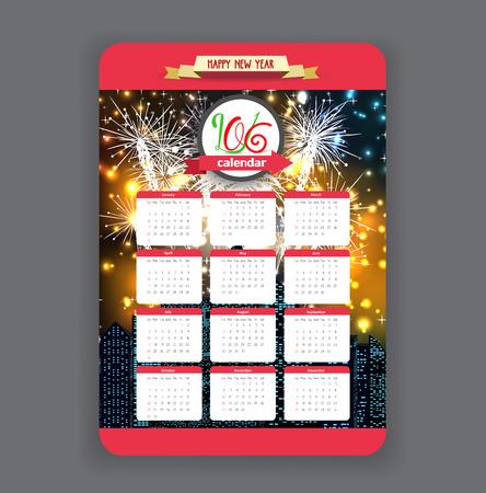 midnight hour: Firework background design calendar year 2016 Illustration