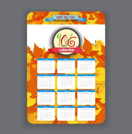 dinner date: Calendar 2016 year autumn design leavesl