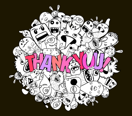 thank you very much: thank you hipster doodle background Illustration