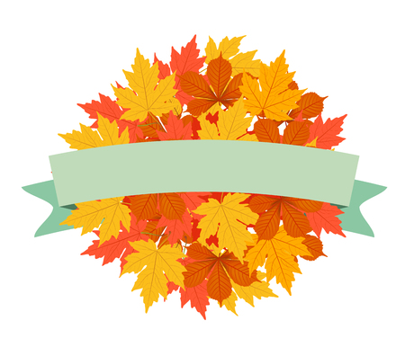 bage: autumn leaves background label