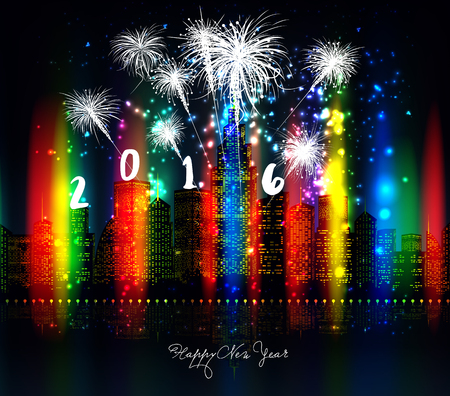 sch: happy new year with firework colorful city