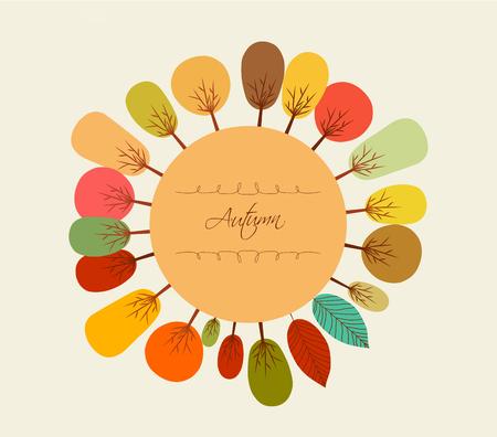 background herfst: Autumn background with trees Stock Illustratie