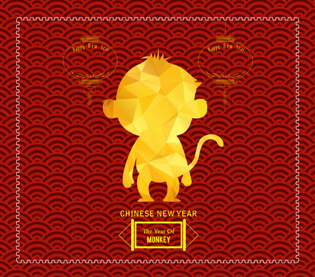 greeting people: Year of monkey design for Chinese New Year celebration Illustration