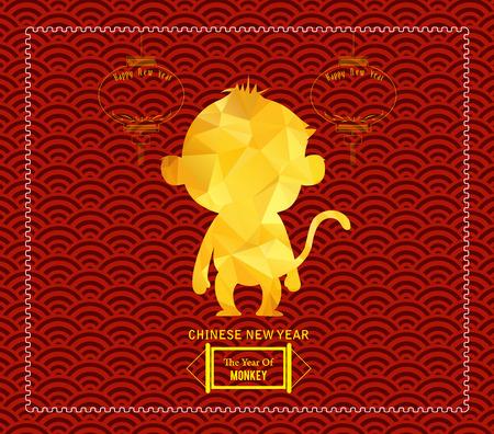 Year of monkey design for Chinese New Year celebration Çizim