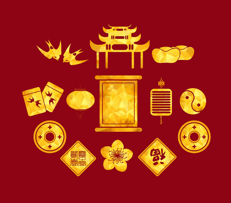 god of wealth: Chinese New Year golden geometrical Icons Illustration