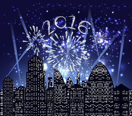 sch: happy new year 2016 with firework city at night
