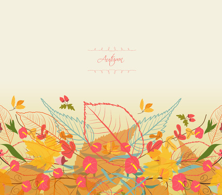 greeting stylized: Background of stylized autumn leaves for greeting cards