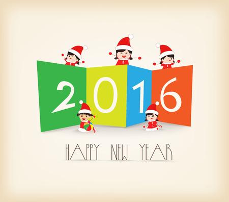 Happy New Year 2016 Colorful kids background Çizim