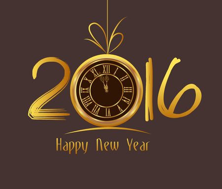 year greetings: Happy New Year 2016 - Old clock