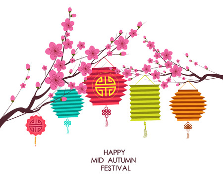 traditional background for traditions of Chinese Mid Autumn Festival or Lantern Festival Çizim
