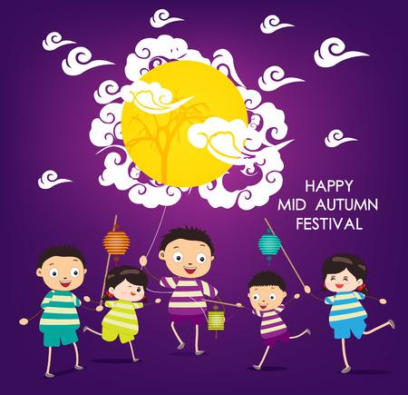 祭: 秋祭りの背景幸せな子供に半ば遊んでランタン  イラスト・ベクター素材