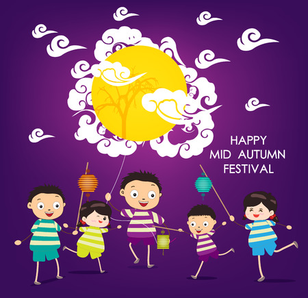 autumn sky: Mid Autumn Festival background with happy kids playing lanterns Illustration