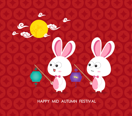 Konijnen maan van Mid Autumn Festival Stock Illustratie