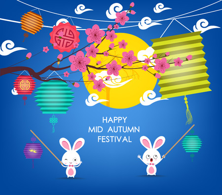 rabbits: Full moon background for traditional of Chinese Mid Autumn Festival or Lantern Festival Illustration