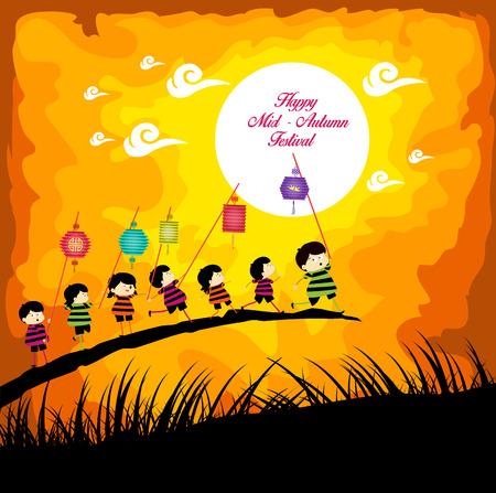 completo: Festival del Medio Otoño con niños jugando linternas