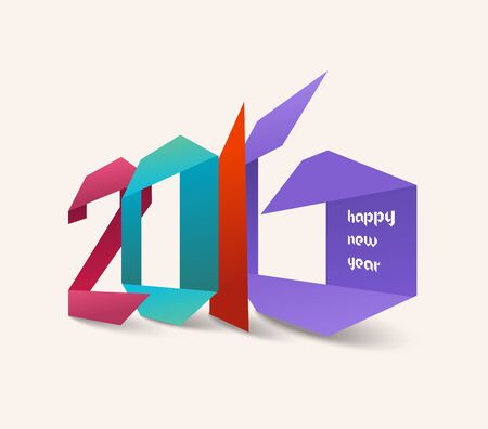 editable sign: Happy new year 2016. Origami colorful