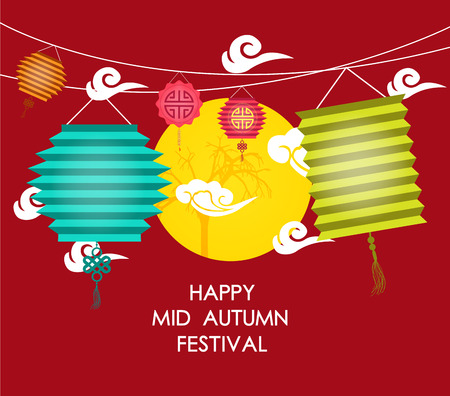 festival vector: Mid Autumn Festival background with lantern Illustration