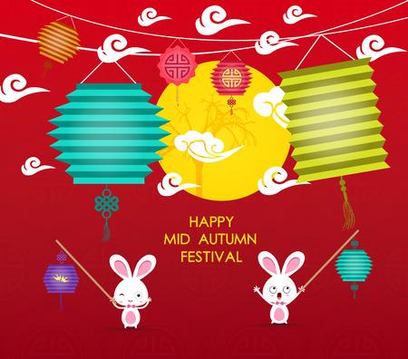 happy Mid Autumn Festival background with rabbit lantern Çizim