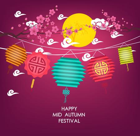 faroles: Diseño gráfico chino mediados del festival de otoño Vectores
