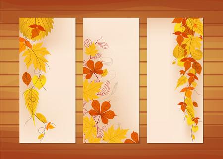 hojas de colores: Tres banderas de oto�o con hojas de colores Vectores
