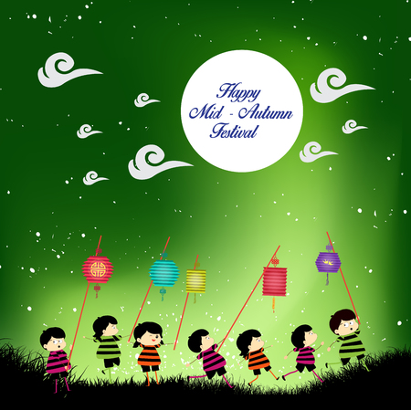 autumn sky: Mid Autumn Festival background with kids playing lanterns Illustration
