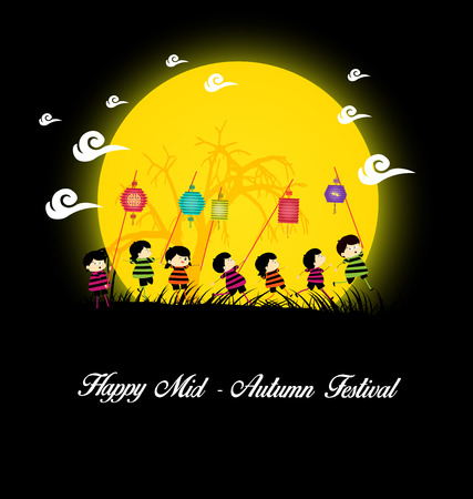 Mid Autumn Festival background with kids playing lanterns Çizim