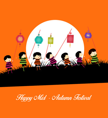 Mid Autumn Festival background with kids playing lanterns 일러스트