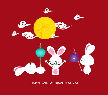 mid autumn festival: Mid autumn festival rabbit playing with lanterns with chinese