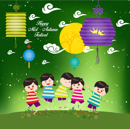 tanglung festival: Mid Autumn Festival with happy kids playing lanterns