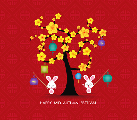 mid: Mid autumn festival rabbit playing with lanterns. Happy greeting card