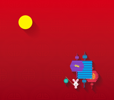 Mid Autumn Festival background with lantern and full moon