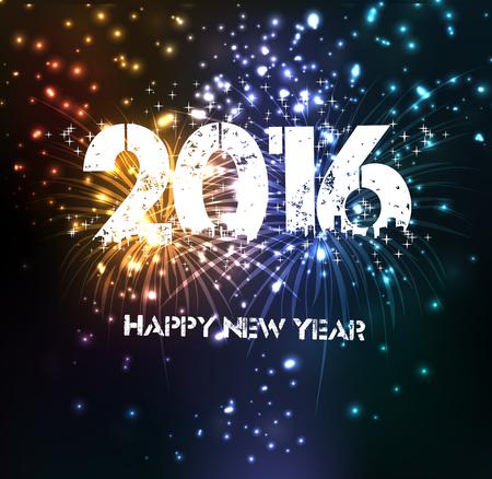 nowy: Fajerwerki Szczęśliwego nowego roku na rok 2016 Ilustracja