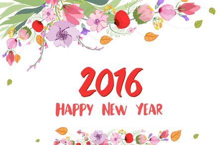 wild flower: Happy new year 2016. Watercolor Wild flower Illustration