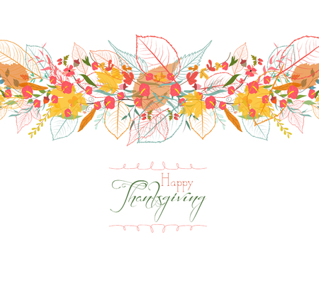 Happy Thanksgiving. Background of stylized autumn leaves for greeting cards