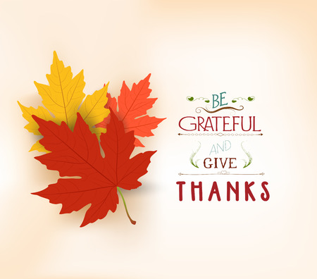 gratitude: Happy Thanksgiving. Autumn background with leaves Illustration