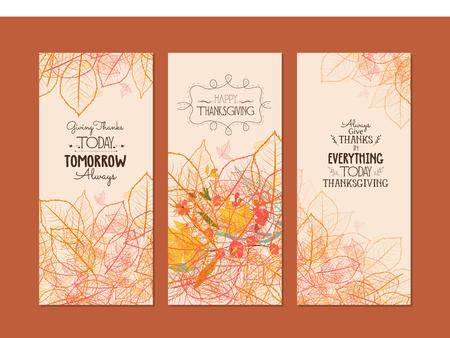 agradecimiento: Feliz Día de Gracias. Tres banderas con las hojas de otoño estilizada otoño Vectores