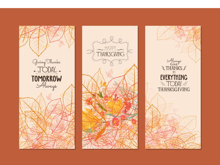 gratitude: Happy Thanksgiving. Three banners with stylized autumn autumn leaves