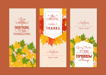 fall harvest: Happy banners with colorful autumn leaves Thanksgiving.Three Illustration