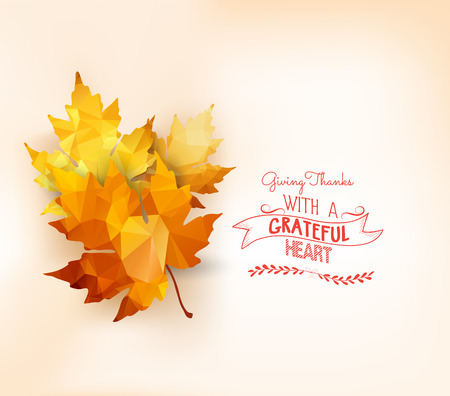 Happy Thanksgiving. Autumn background with geometrical leaves.